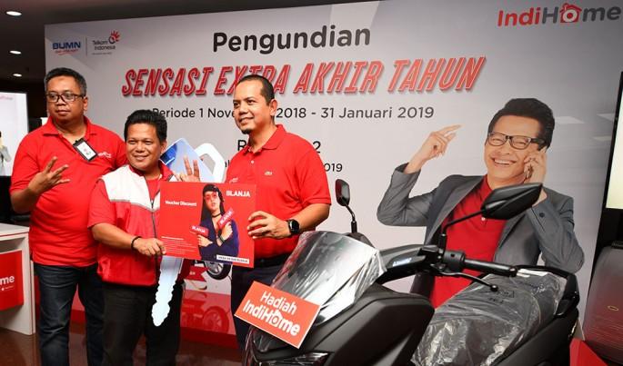 Acara Undian IndiHome Paket Sensasi Extra Akhir Tahun di Jakarta, Kamis (7/2).Foto/Roni.M/ECONOMICZONE