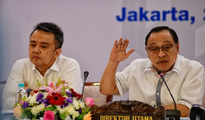 Direktur Utama PT Bank Tabungan Negara (Persero) Tbk. Maryono di sela Konferensi Pers Paparan Kinerja Triwulan II/2019 di Jakarta, Jumat (26/7).Foto/Roni.M/ECONOMICZONE