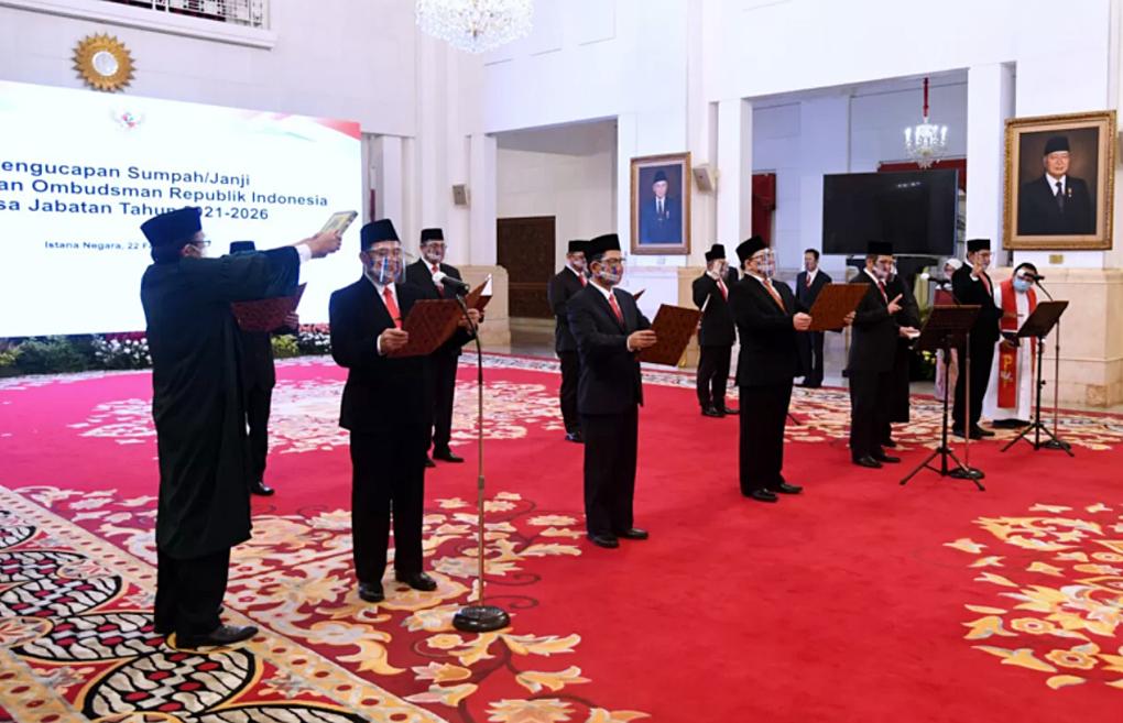 Presiden Jokowi Saksikan Pengucapan Sumpah Keanggotaan Ombudsman RI Masa Jabatan 2021-2026