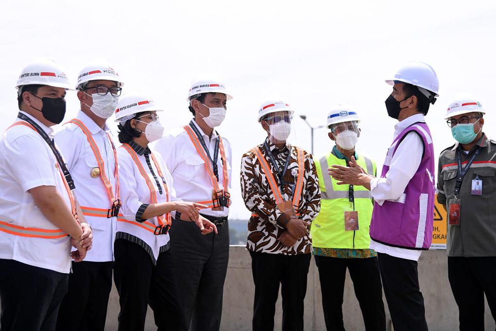 Presiden Jokowi Tinjau Pembangunan Konstruksi Kereta Cepat Jakarta-Bandung